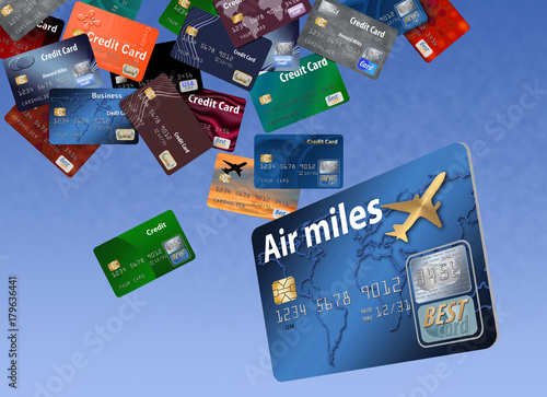 Fotografie, Obraz  Air miles credit card floating with dozens of other credit cards
