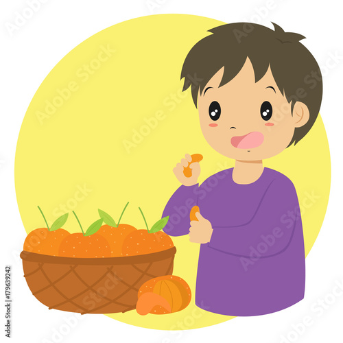 A Boy Eating An Orange And A Basket Full Of Fresh Oranges Cartoon Vector Buy This Stock Vector And Explore Similar Vectors At Adobe Stock Adobe Stock