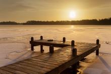 Orange Winter Landscape  Lake ...