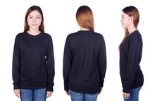 Woman In Black Long Sleeve T-s...