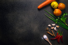 Fresh Vegetables For Healthy Diet On A Rustic Table. Top View, Copy Space, Dark Background