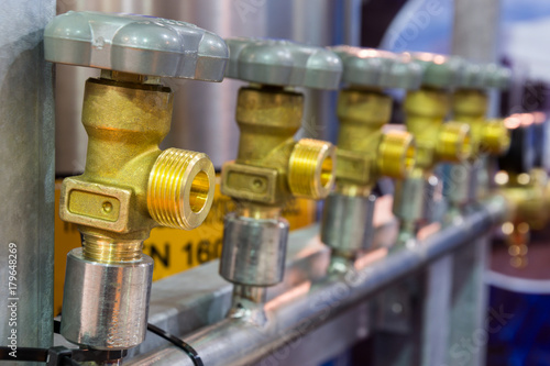 Brass valves for oxygen. Canvas Print