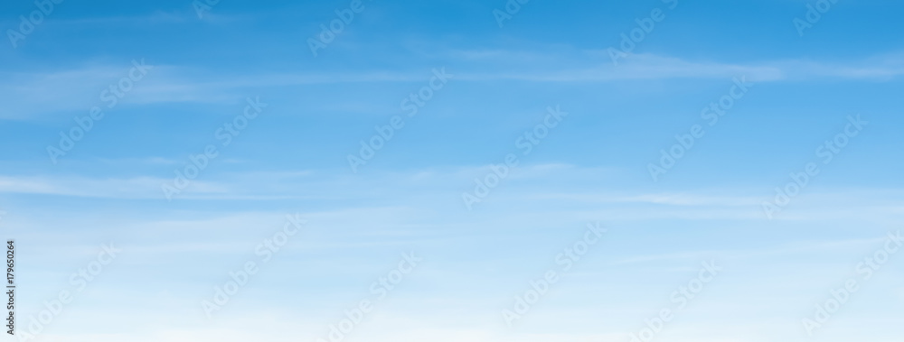 Fototapety, obrazy: An aerial background view from of clear blue skies and white faint clouds - panoramic web banner