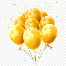 Yellow Balloons And Golden Sta...