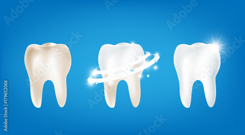 Fotografía  Collection of dirty clean and strong  white tooth wiht glittering bright light e