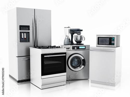 Household equipments isolated on white background Wallpaper Mural