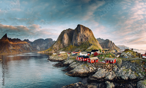Norwegian fishing village at the Lofoten Islands in Norway Wallpaper Mural