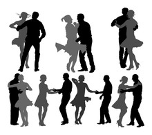 Elegant Latino Dancers Couple Vector Silhouette Illustration Isolated On White Background. Group Of Mature Tango Dancing People In Ballroom Night Event.