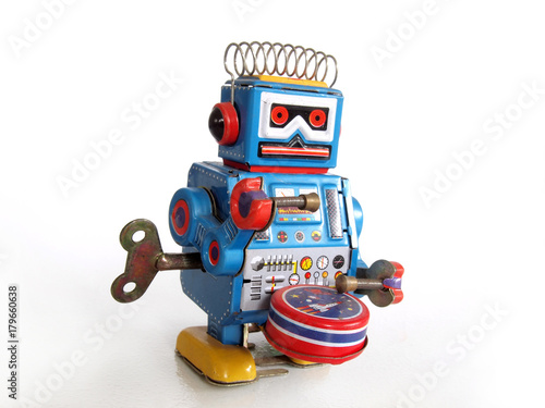 Obraz Robot tin toy / Isolated white - fototapety do salonu