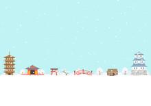 城下町 雪の風景
