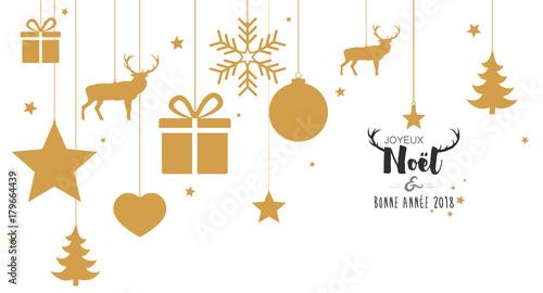 Carte de Noël avec boules dorées suspendues   Buy this stock