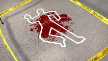 Crime Scene With A Chalk Figure