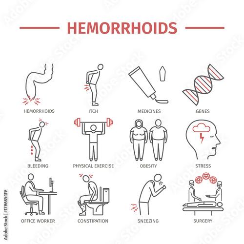 Hemorrhoids line icon Infographics Wallpaper Mural