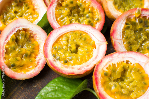 Passion fruit on  a wooden board