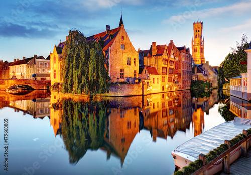 Wall Murals Bridges Bruges - Canals of Brugge, Belgium, evening view.