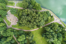 Top View Of The Park With Walking Paths And Playground