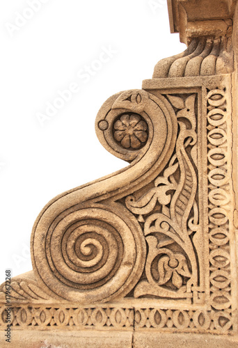 Foto op Plexiglas Marokko Detail of an ancient carved ornament in Moroccan style, Morocco