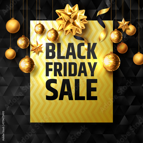 black friday sale poster with golden ribbon and christmas decoration elements for retailshopping or - Black Friday Christmas Decorations