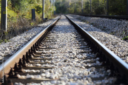 Foto op Canvas Spoorlijn railroad tracks view