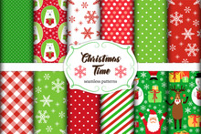 Set Of 11 Cute Seamless Christmas Time Patterns With Traditional Ornaments
