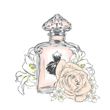 Perfume Bottle And Flowers. Ve...