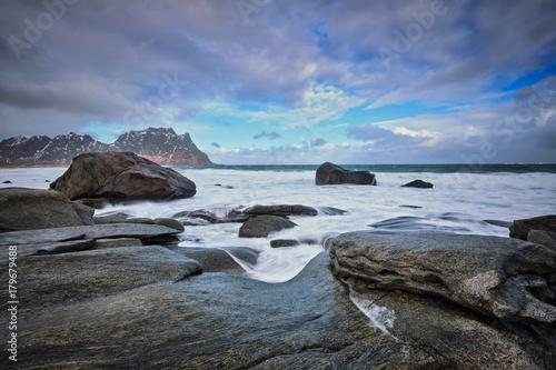 Poster Scandinavie Beach of fjord in Norway