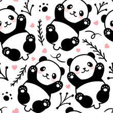 Cute Cartoon Panda Seamless Pa...