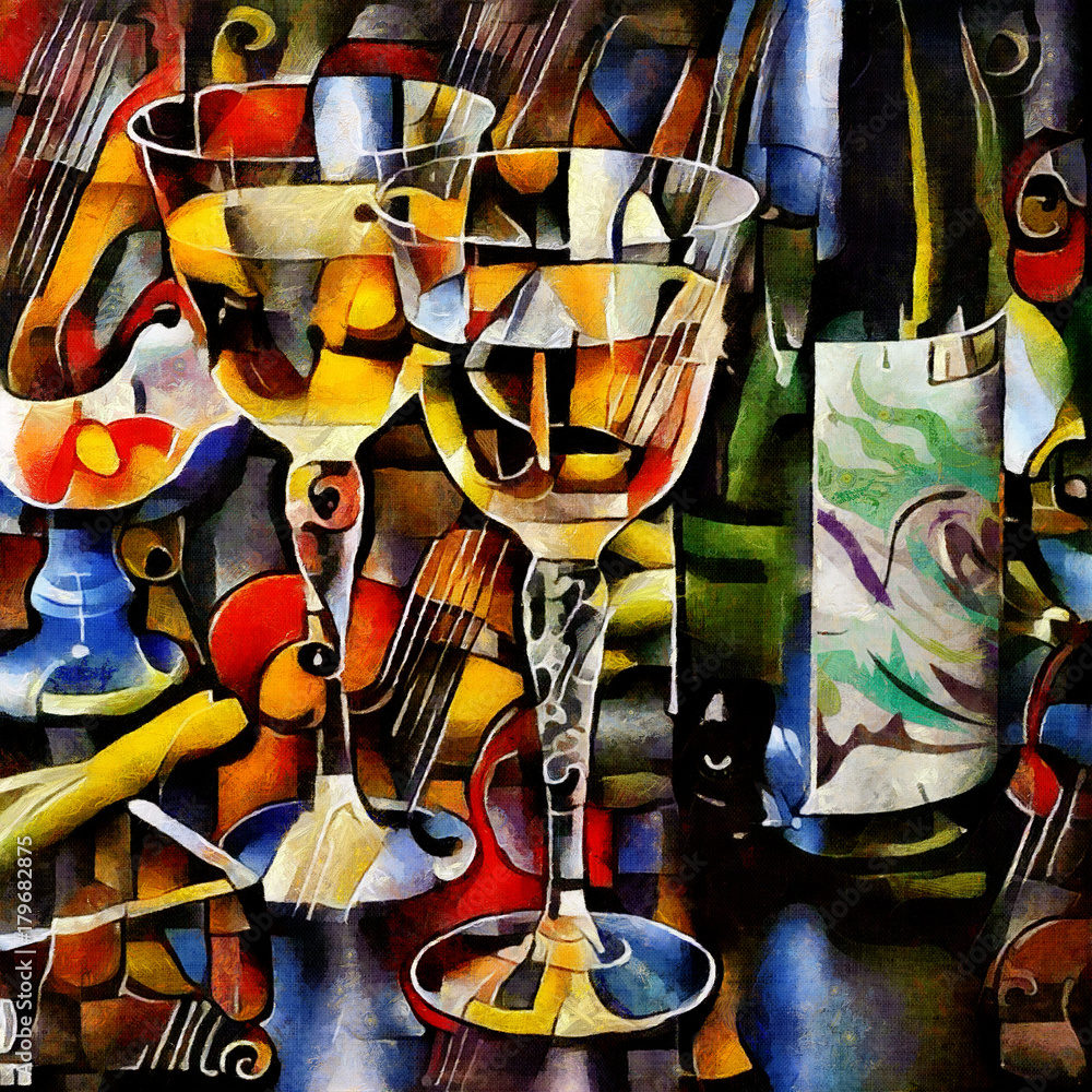 Fototapeta Wine themes in the style of cubism. Bottles, glasses and grapes on the table. Executed in oil on canvas with elements of pastel painting.