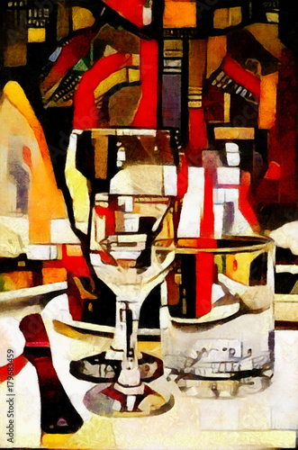 The wine glasses on the table. Executed in oil on canvas in a modern cubist style. Painting for interior and gift.