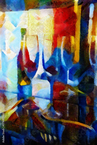 Glasses of wine in the style of cubism. Modern style done with oil on canvas with elements of acrylic painting.