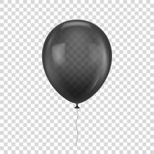 Black Realistic Balloon. White...