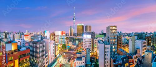 Tuinposter Dubai Top view of Asakusa area in Tokyo Japan