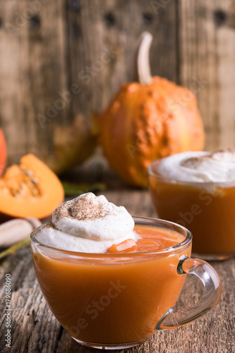 Pumpkin spice latte with whipped cream Canvas Print