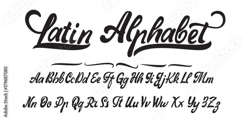 Photo  Latin alphabet, hand made, font for your design.