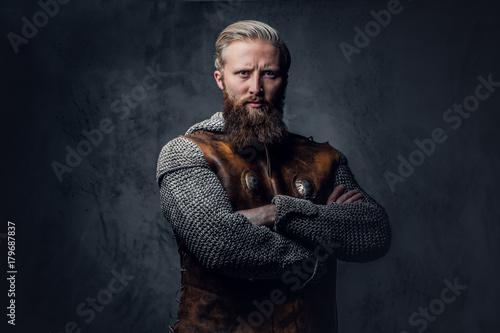 Fotomural  A man Viking dressed in Nordic armor.