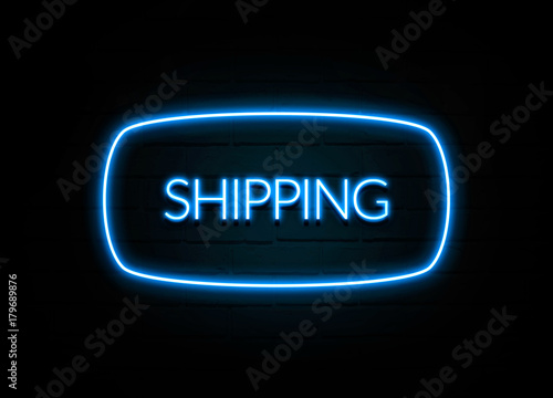 Photo  Shipping  - colorful Neon Sign on brickwall