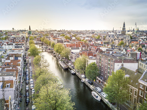 Photo  Aerial view of Amsterdam, capital city of The Netherlands, Europe