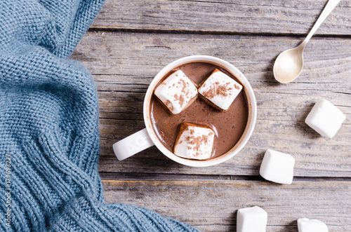 Spoed Foto op Canvas Chocolade Hot chocolate with marshmallow