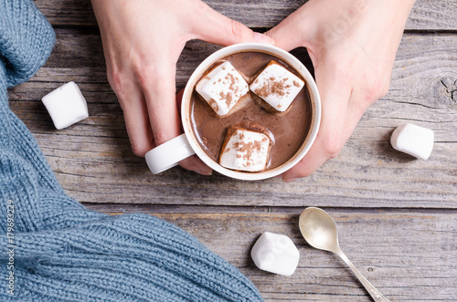 Fotobehang Chocolade Hot chocolate with marshmallow in woman hand