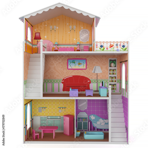 3d Rendering of a doll house on white background Canvas-taulu