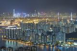 Fototapeta Nowy York - Aerial view of Hong Kong city at night