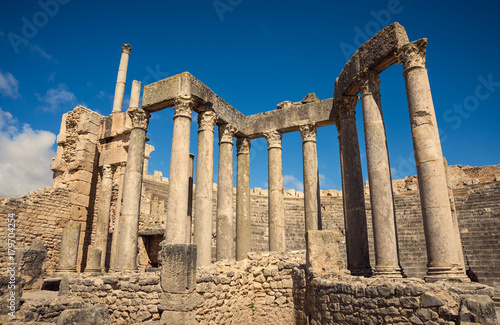 Poster Rudnes Ancient Roman ruins, historical monuments. Theater in Tunisia. Journey.