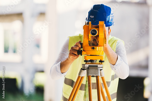 Fotografie, Obraz Picture of construction engineer working on building site