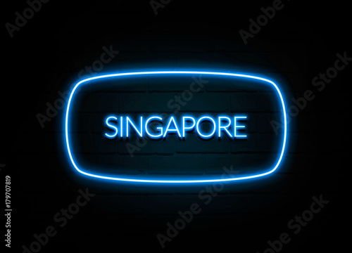 Photo  Singapore  - colorful Neon Sign on brickwall