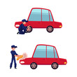 vector flat cartoon young man, boy mechanic in blue uniform replacing tire of red sedan car, washing hood set. Male full lenght portrait caucasian character isolated illustration on a white background