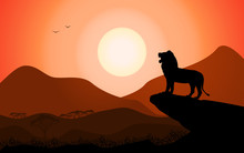 Vector Silhouette King Lion African Nature