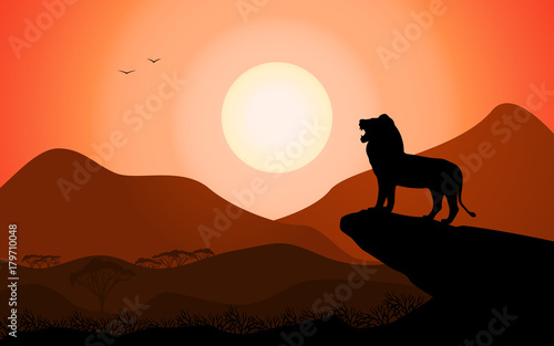Vector silhouette king lion african nature Canvas Print