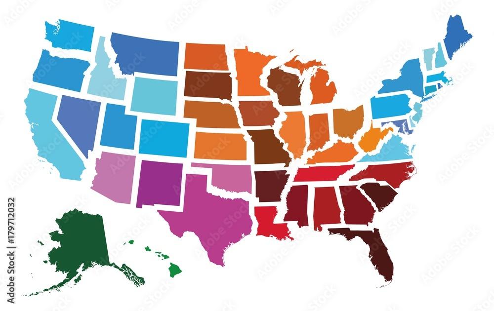 Fototapety, obrazy: USA Administrative Regional Map