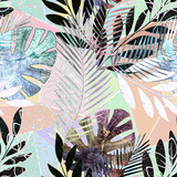 Seamless tropical pattern.Palm leaves on a colorful background. - 179718240