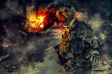 Army soldier in action. Gre...